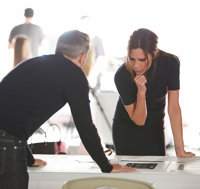 Victoria Beckham working on her makeup collection
